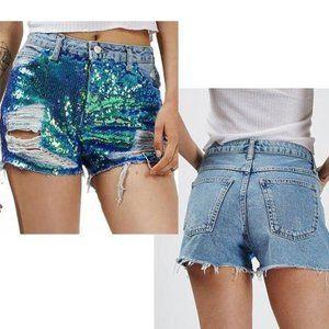 Topshop Ashley Mermaid Sequin Cutoff Denim Shorts